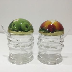 2 Jelly Jam Jars with Lid & Spoon Apples & Berries